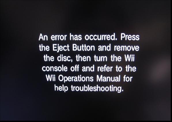nintendo wii system errors rh dragonblogger com Wii Game Error Wii Game Error Message