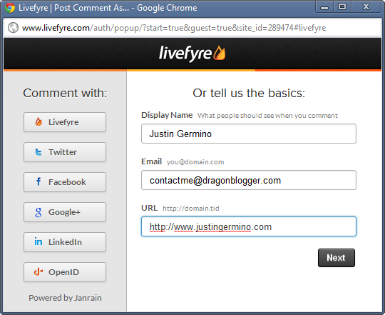 Livefyre Now Supports Guest Commenting - Dragon Blogger Technology