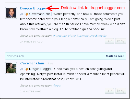 Get Your DoFollow Link with Livefyre - Dragon Blogger Technology