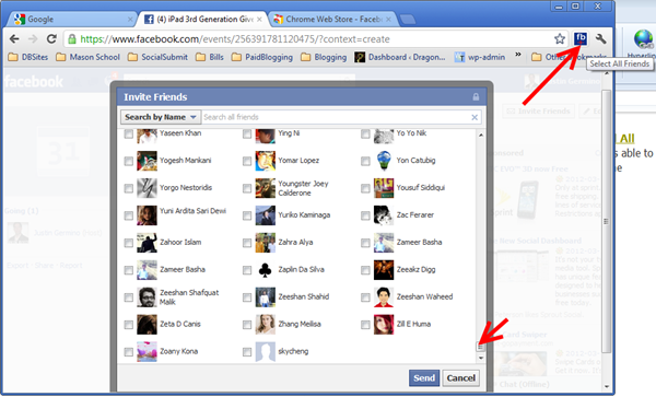 Click on the Select All Friends button and wait a bit, this can take over 2 minutes if you have thousands of friends.