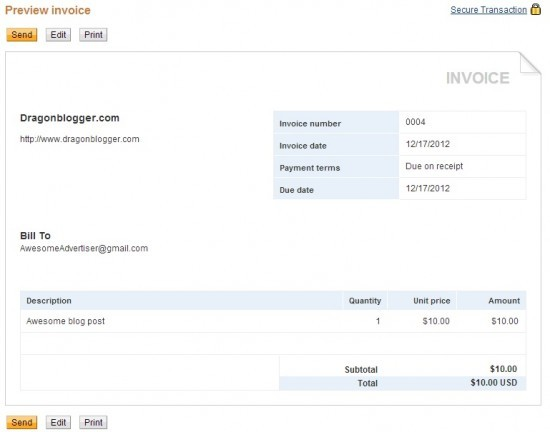 how to create invoices in paypal for blogging services dragon