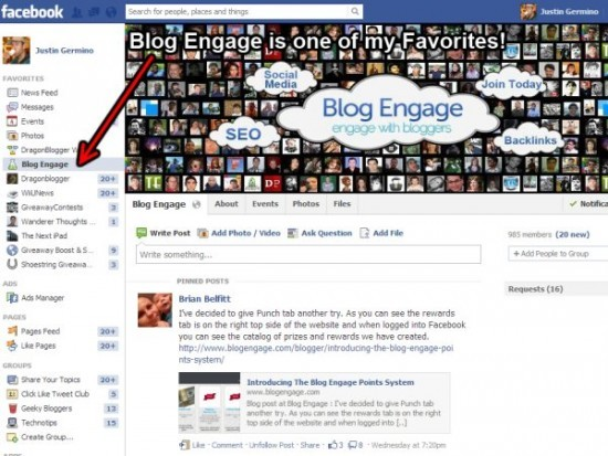 blog engage facebook group