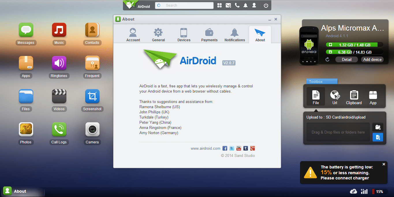 Remotely Access your Android device with AirDroid