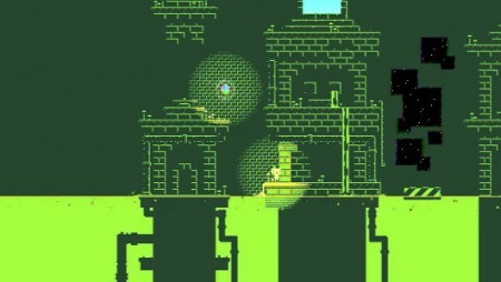 A world in the game Fez with graphics inspired by the Game Boy.