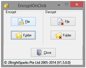 EncryptOnClick Main Window
