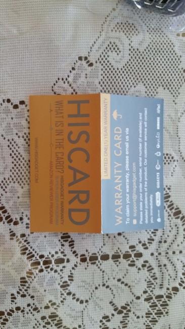 Warranty card. Always a good thing!