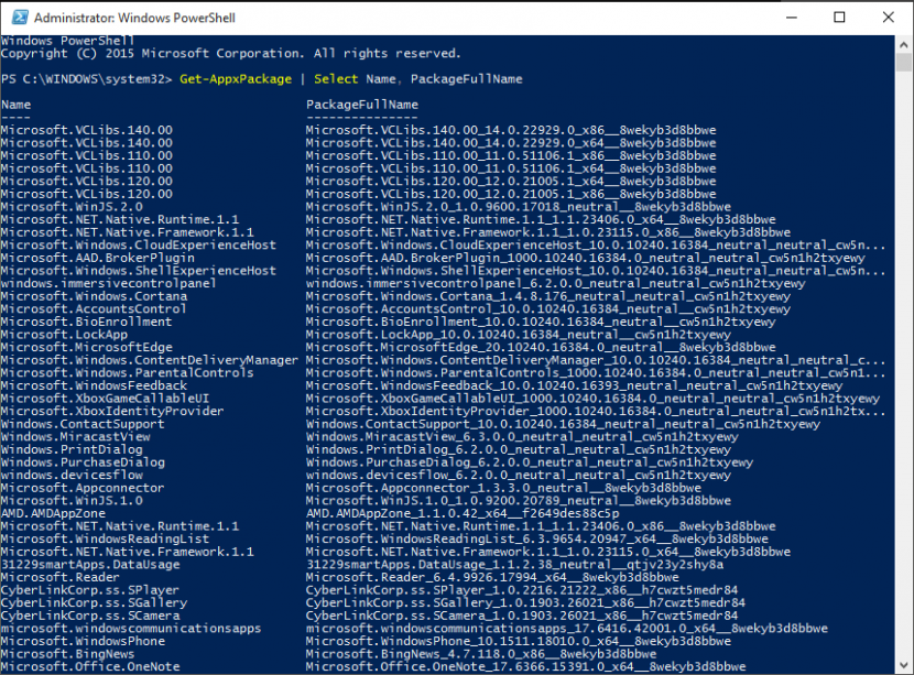 PowerShell_PackageNames