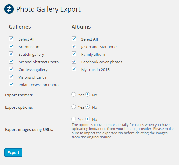 photo gallery export