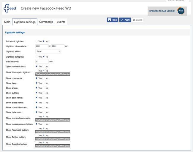 facebook feed wd lightbox settings