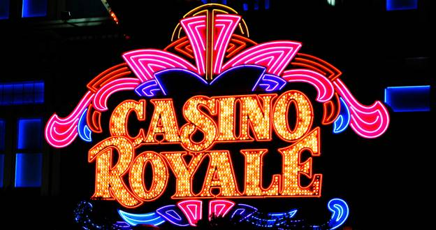Close up of casino royale poster with bright lights